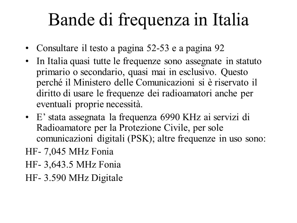 Bande di frequenza in Italia