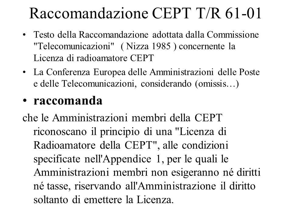 Raccomandazione CEPT T/R 61-01