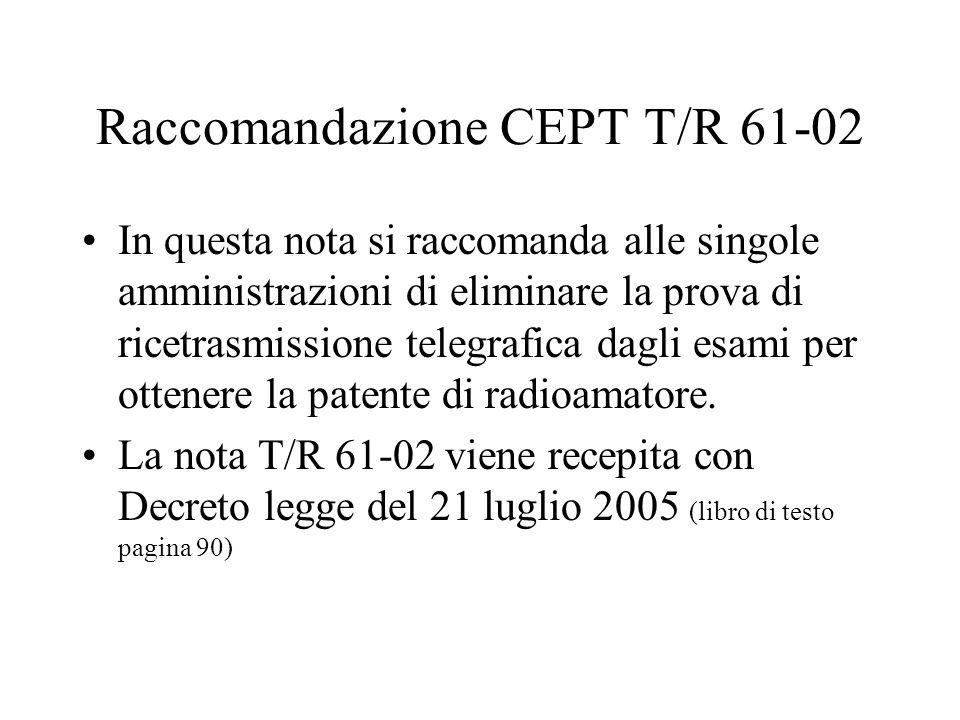Raccomandazione CEPT T/R 61-02