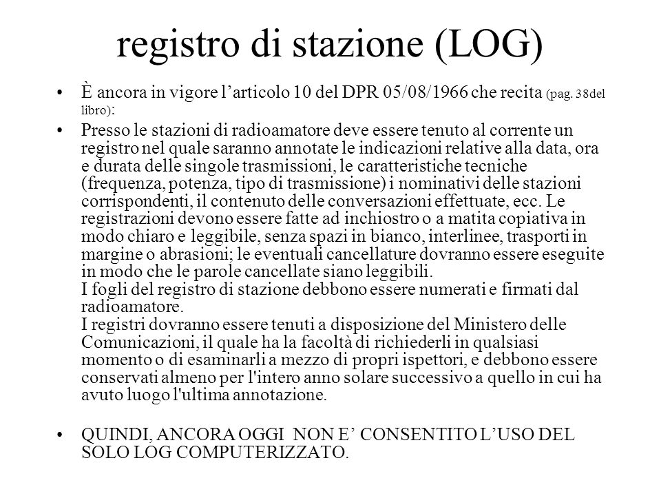registro di stazione (LOG)