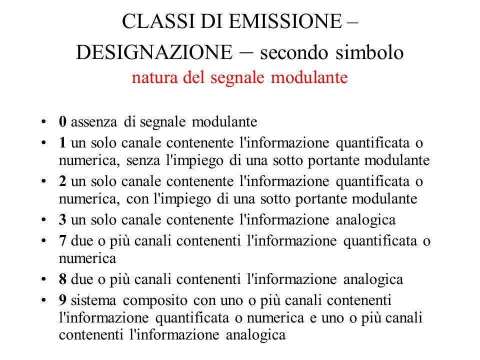 CLASSI DI EMISSIONE – DESIGNAZIONE – secondo simbolo natura del segnale modulante