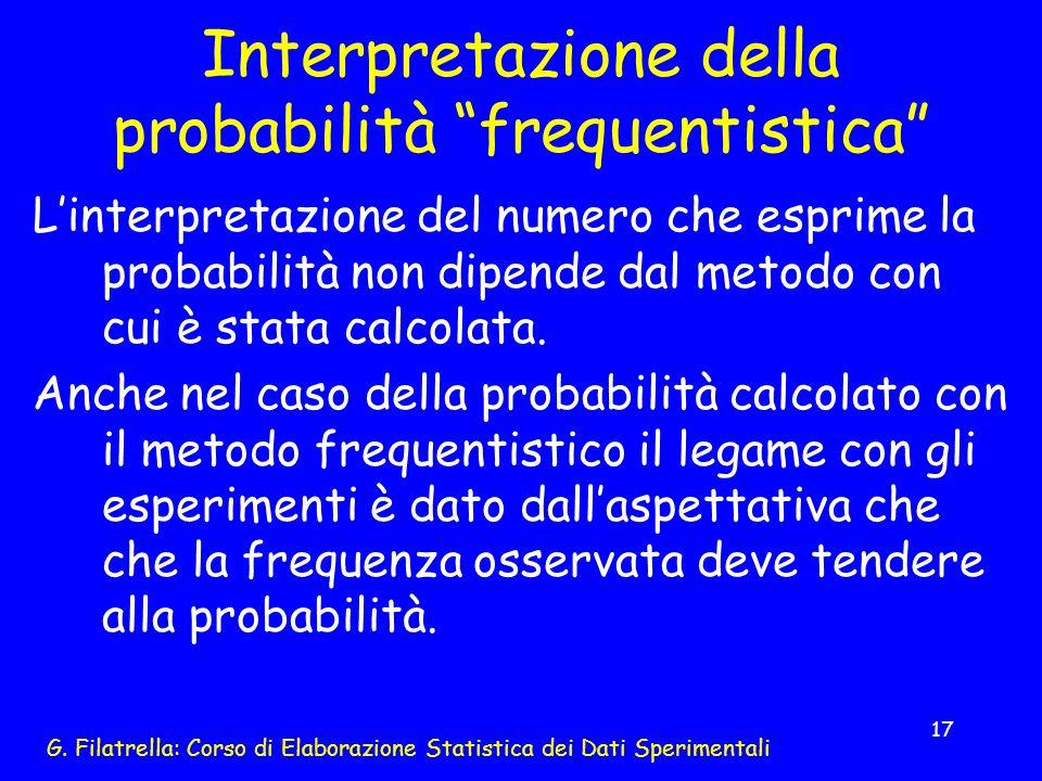 Interpretazione della probabilità frequentistica