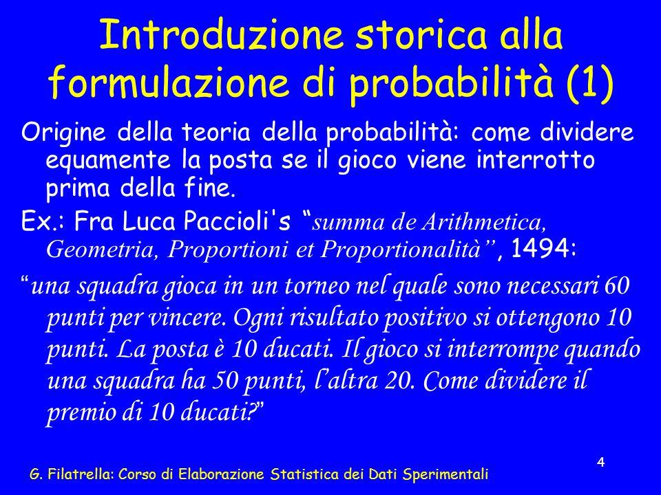 Introduzione storica alla formulazione di probabilità (1)