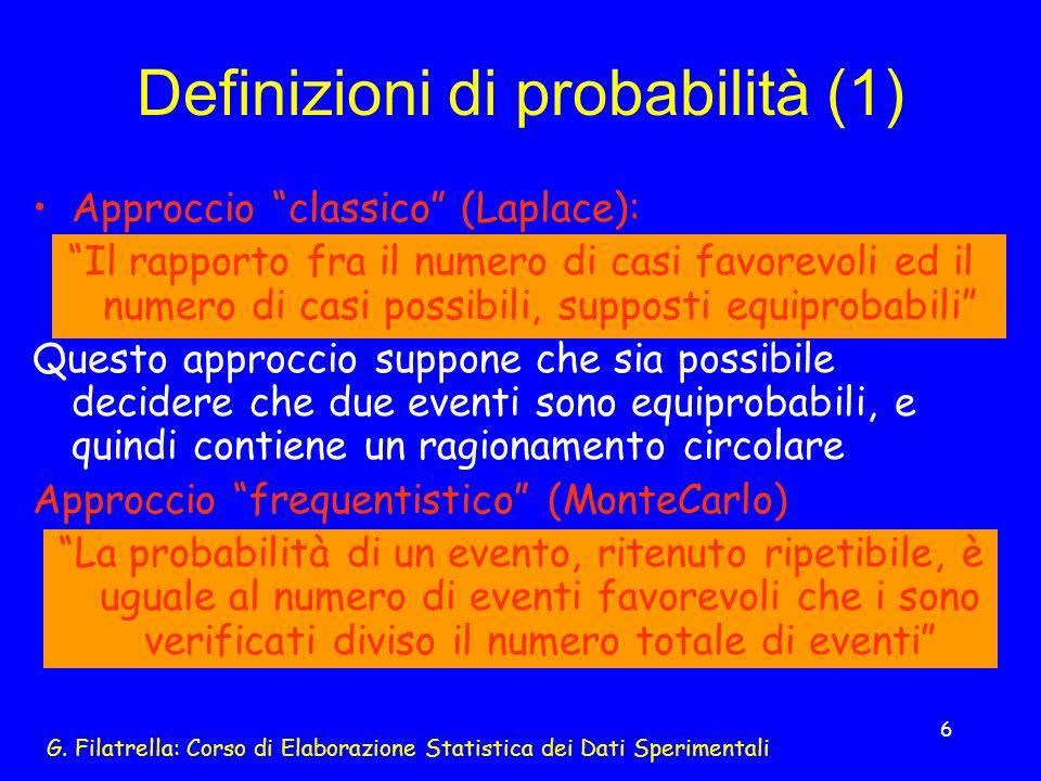 Definizioni di probabilità (1)
