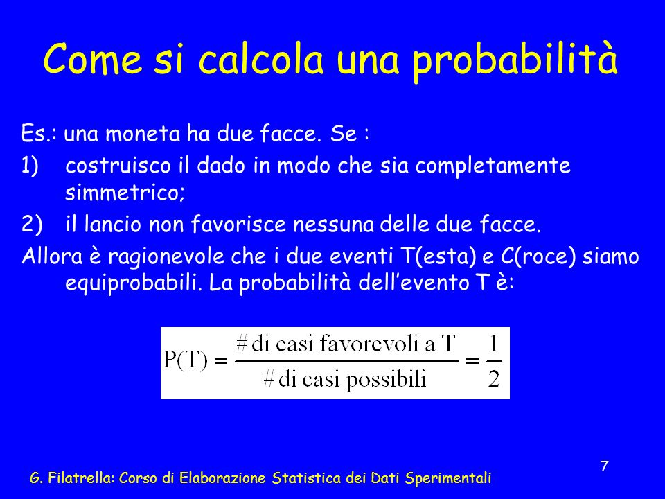 Come si calcola una probabilità
