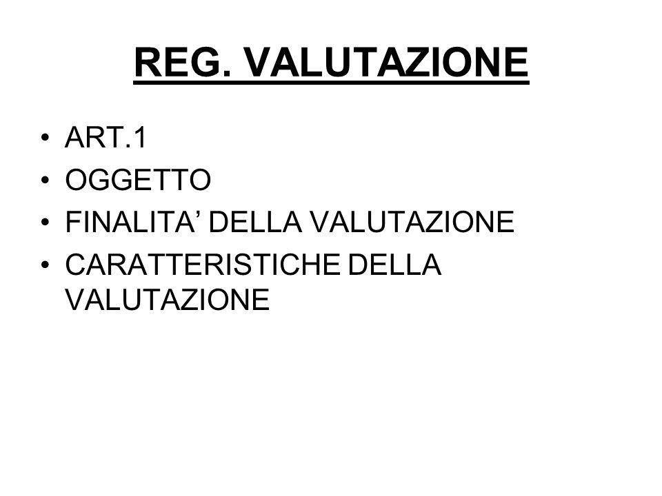 REG. VALUTAZIONE ART.1 OGGETTO FINALITA' DELLA VALUTAZIONE