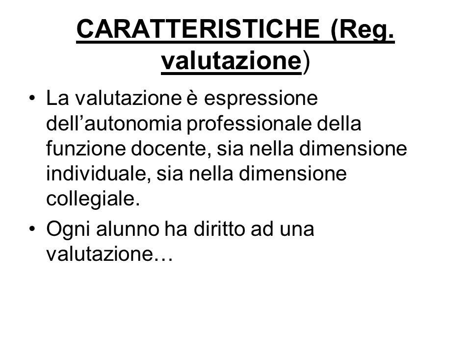 CARATTERISTICHE (Reg. valutazione)