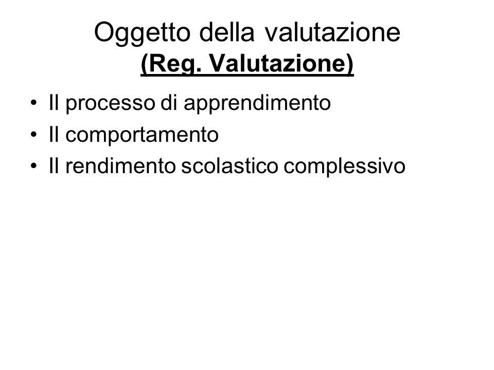 Oggetto della valutazione (Reg. Valutazione)