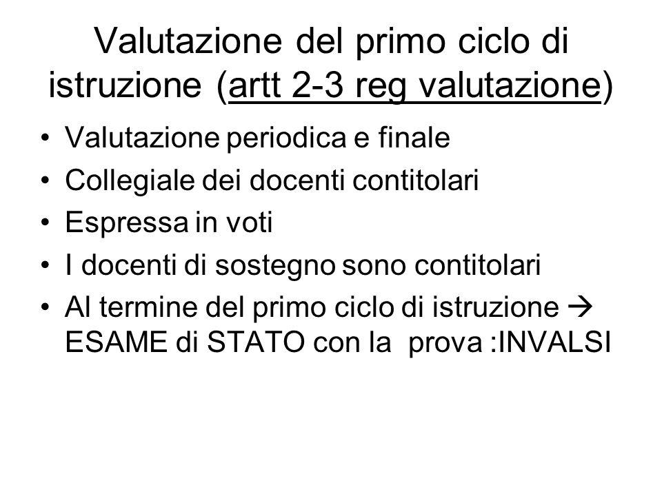 Valutazione del primo ciclo di istruzione (artt 2-3 reg valutazione)