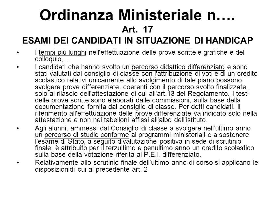 Ordinanza Ministeriale n…. Art