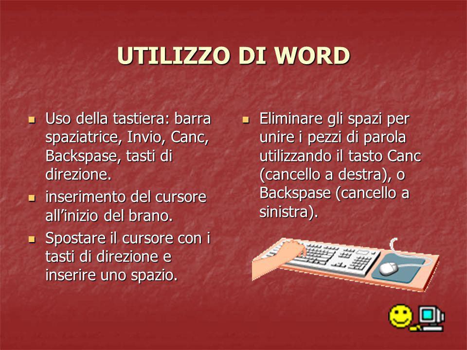 UTILIZZO DI WORD Uso della tastiera: barra spaziatrice, Invio, Canc, Backspase, tasti di direzione.