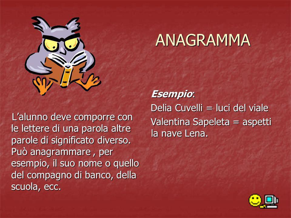 ANAGRAMMA Esempio: Delia Cuvelli = luci del viale