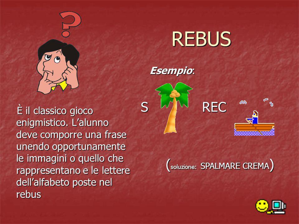 REBUS S REC (soluzione: SPALMARE CREMA) Esempio: