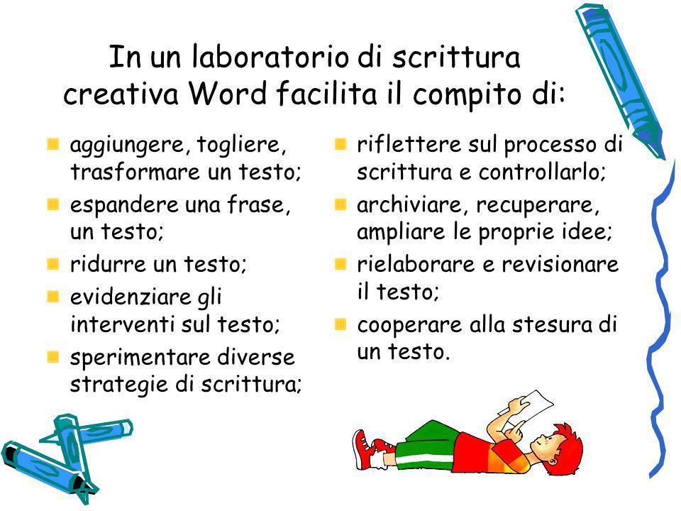 In un laboratorio di scrittura creativa Word facilita il compito di: