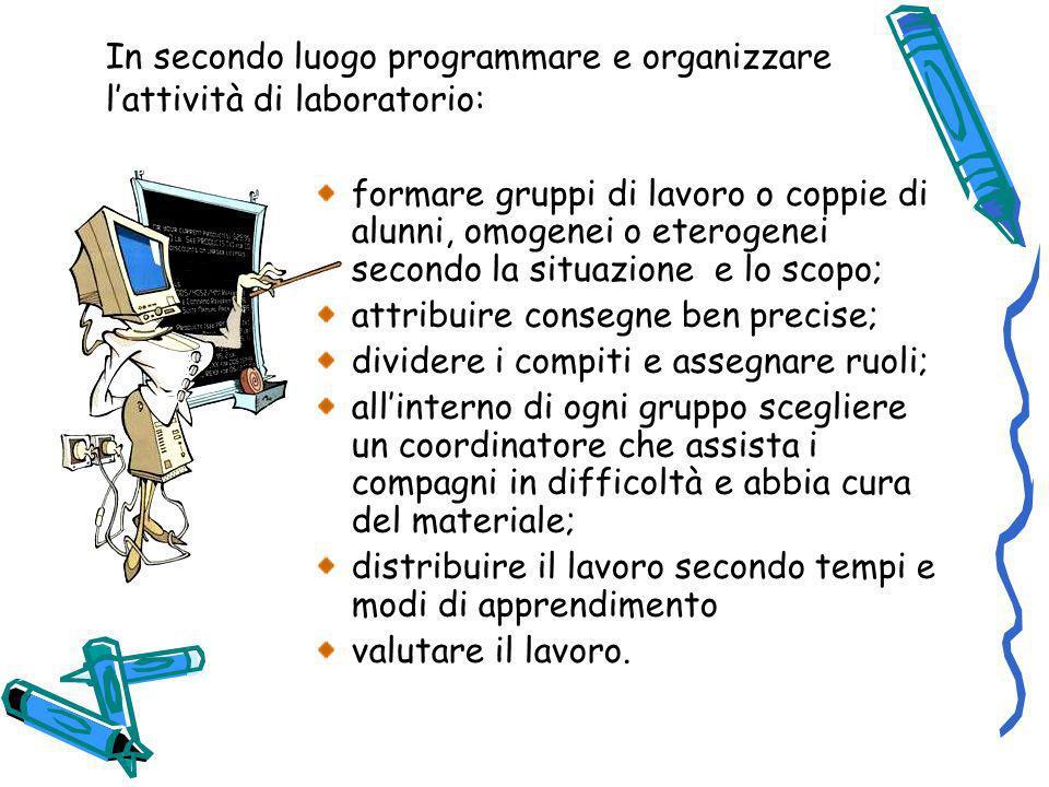 In secondo luogo programmare e organizzare l'attività di laboratorio: