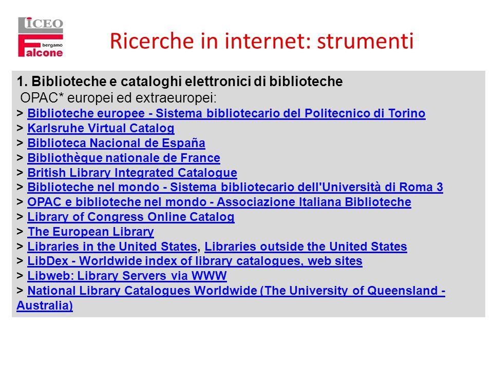 Ricerche in internet: strumenti