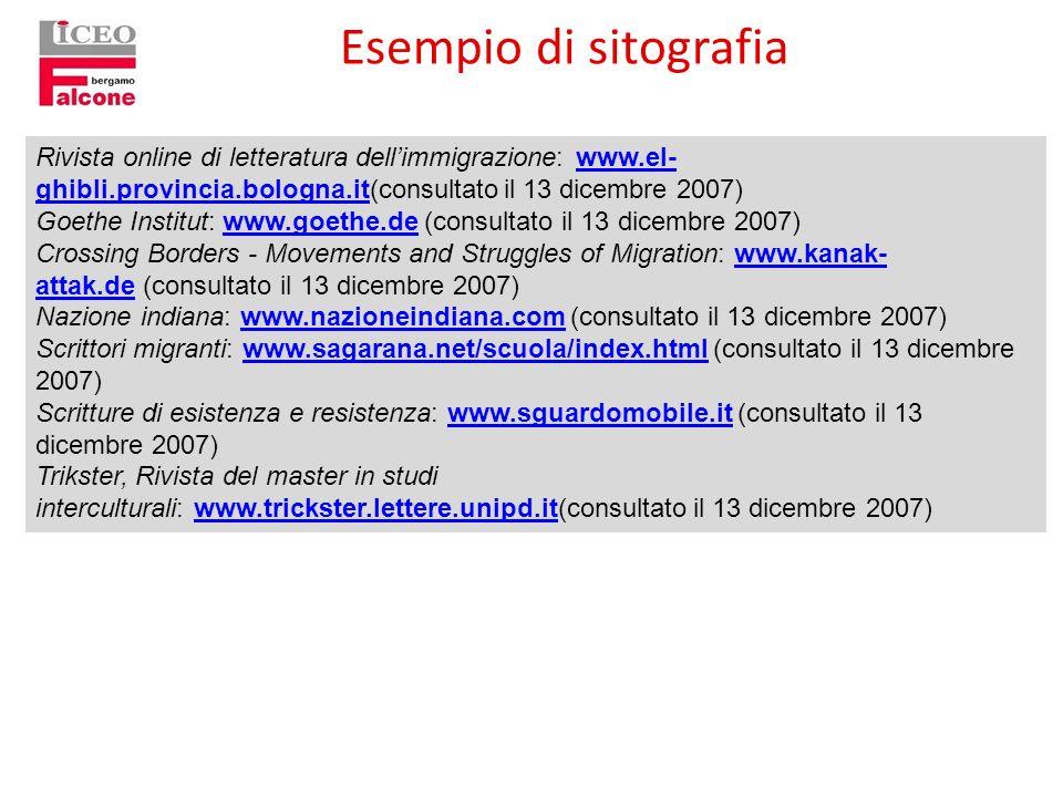 Esempio di sitografia Rivista online di letteratura dell'immigrazione: www.el-ghibli.provincia.bologna.it(consultato il 13 dicembre 2007)