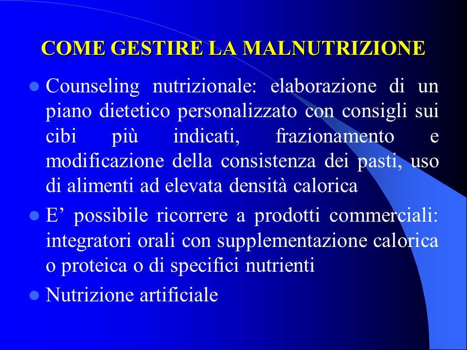 COME GESTIRE LA MALNUTRIZIONE