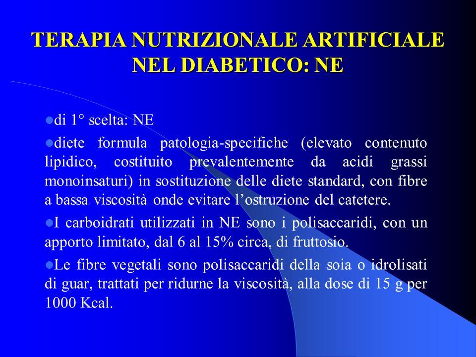 TERAPIA NUTRIZIONALE ARTIFICIALE NEL DIABETICO: NE