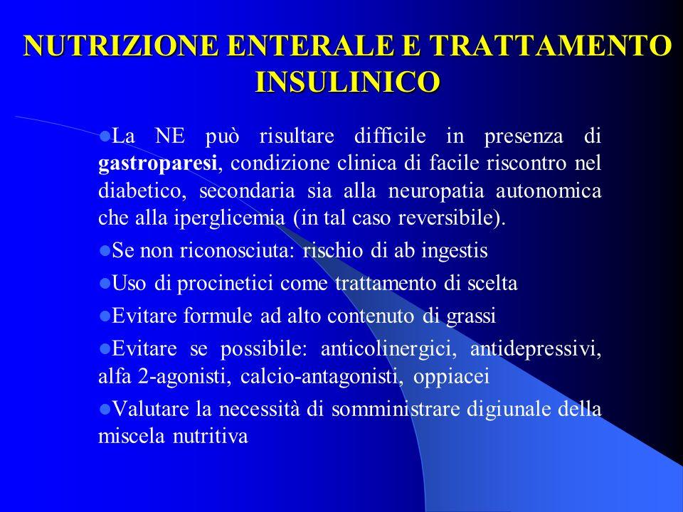 NUTRIZIONE ENTERALE E TRATTAMENTO INSULINICO