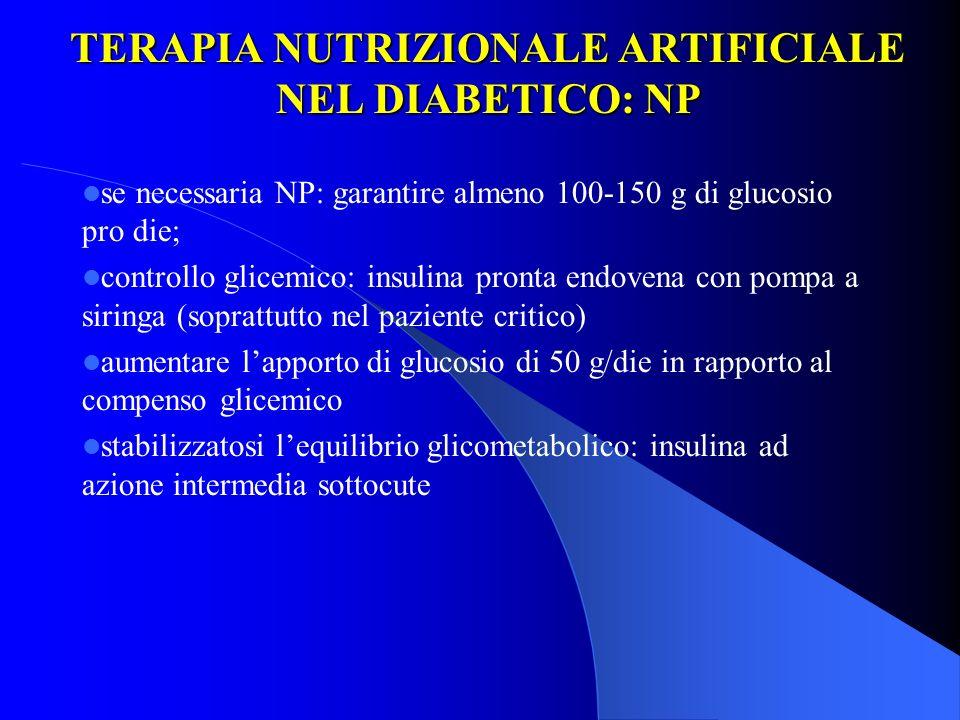 TERAPIA NUTRIZIONALE ARTIFICIALE NEL DIABETICO: NP