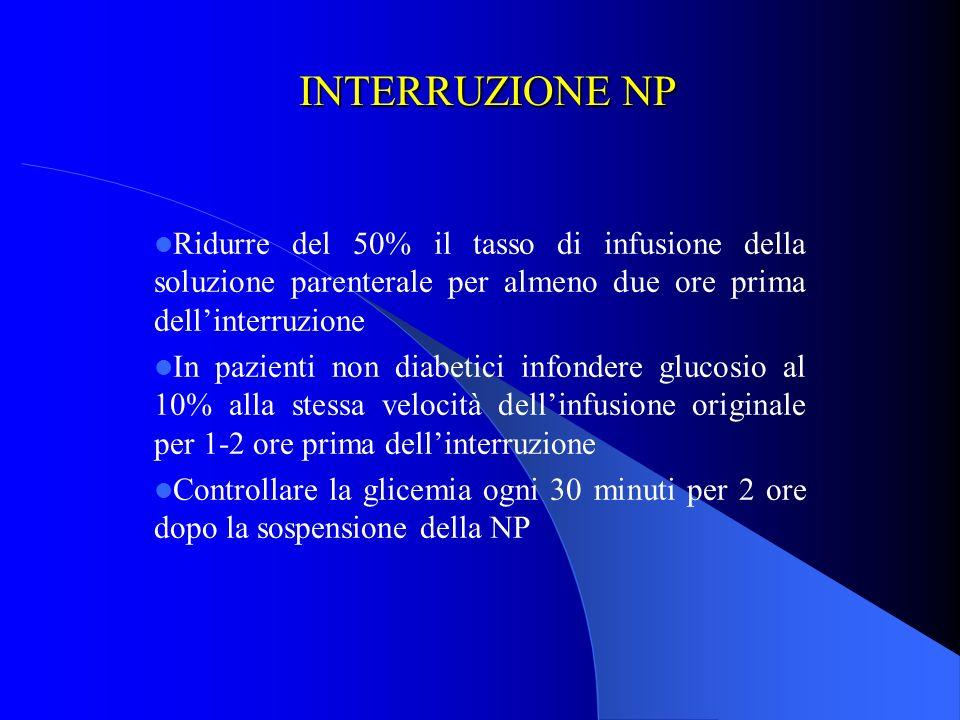 INTERRUZIONE NP Ridurre del 50% il tasso di infusione della soluzione parenterale per almeno due ore prima dell'interruzione.