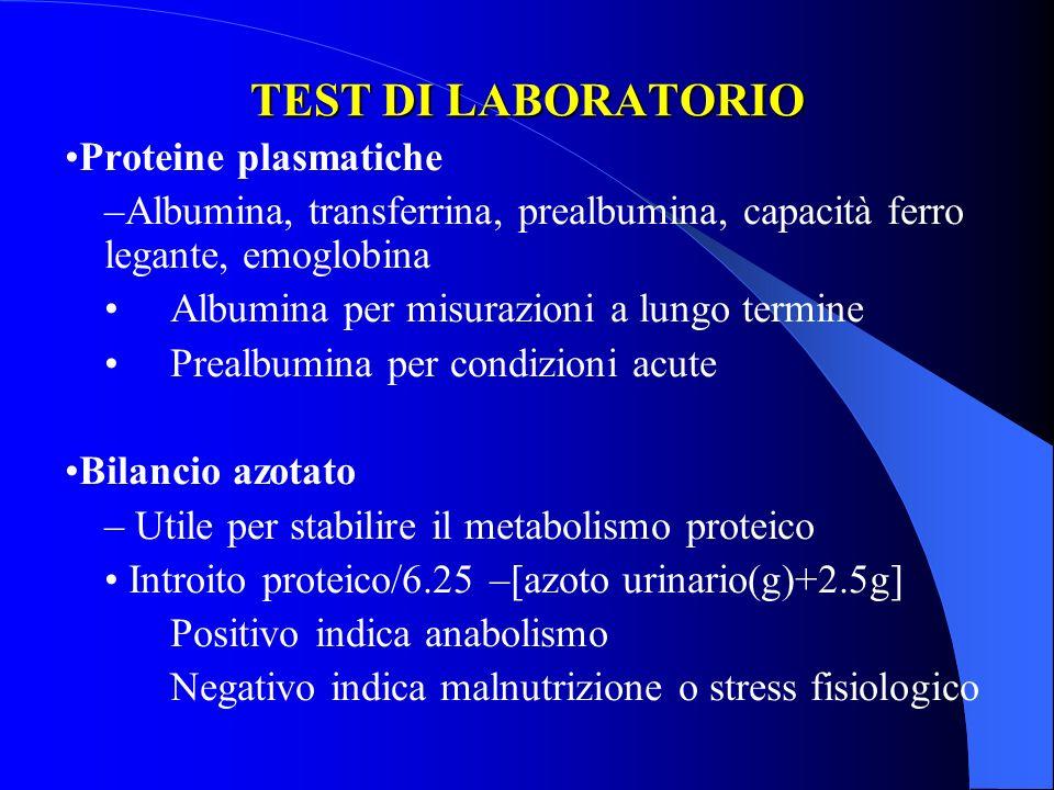TEST DI LABORATORIO •Proteine plasmatiche