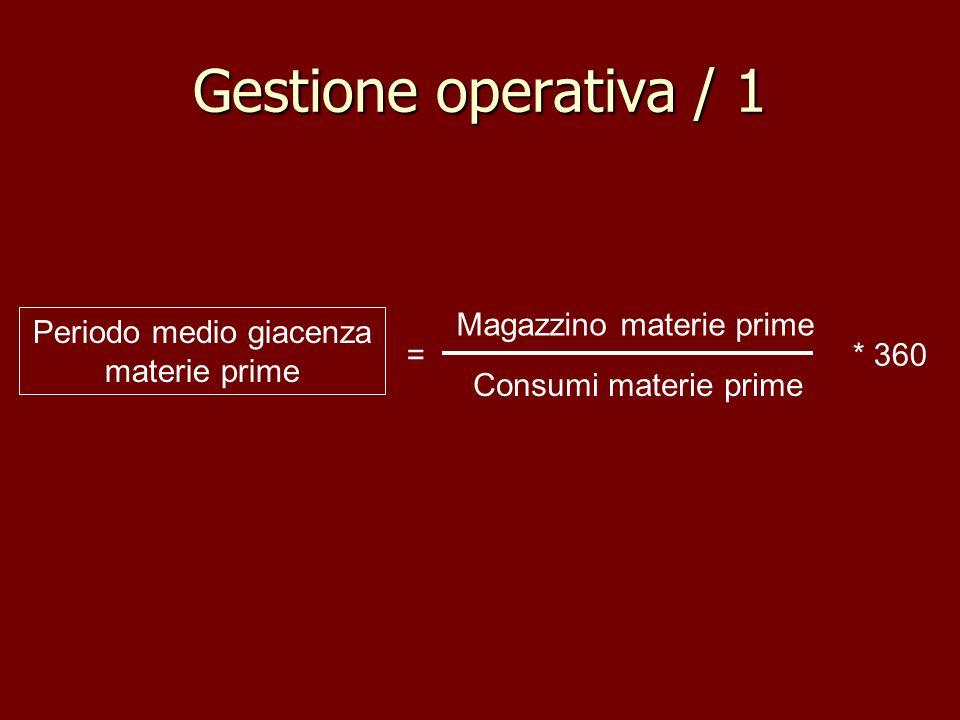 Gestione operativa / 1 Magazzino materie prime