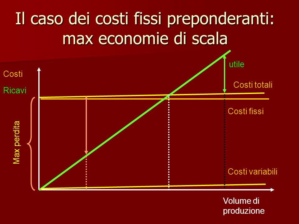 Il caso dei costi fissi preponderanti: max economie di scala
