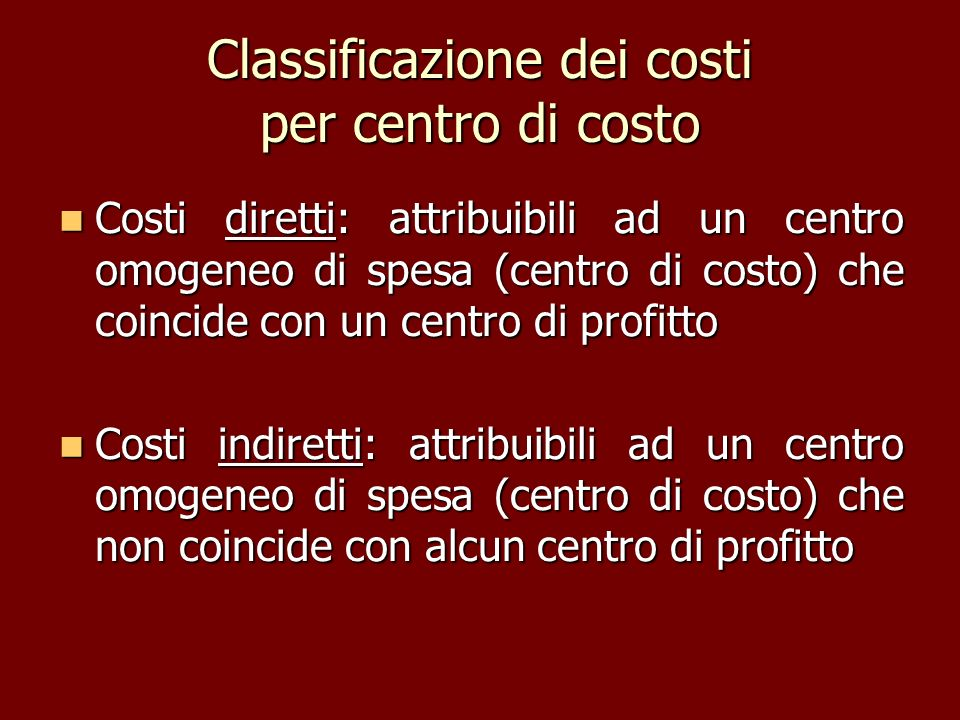 Classificazione dei costi per centro di costo