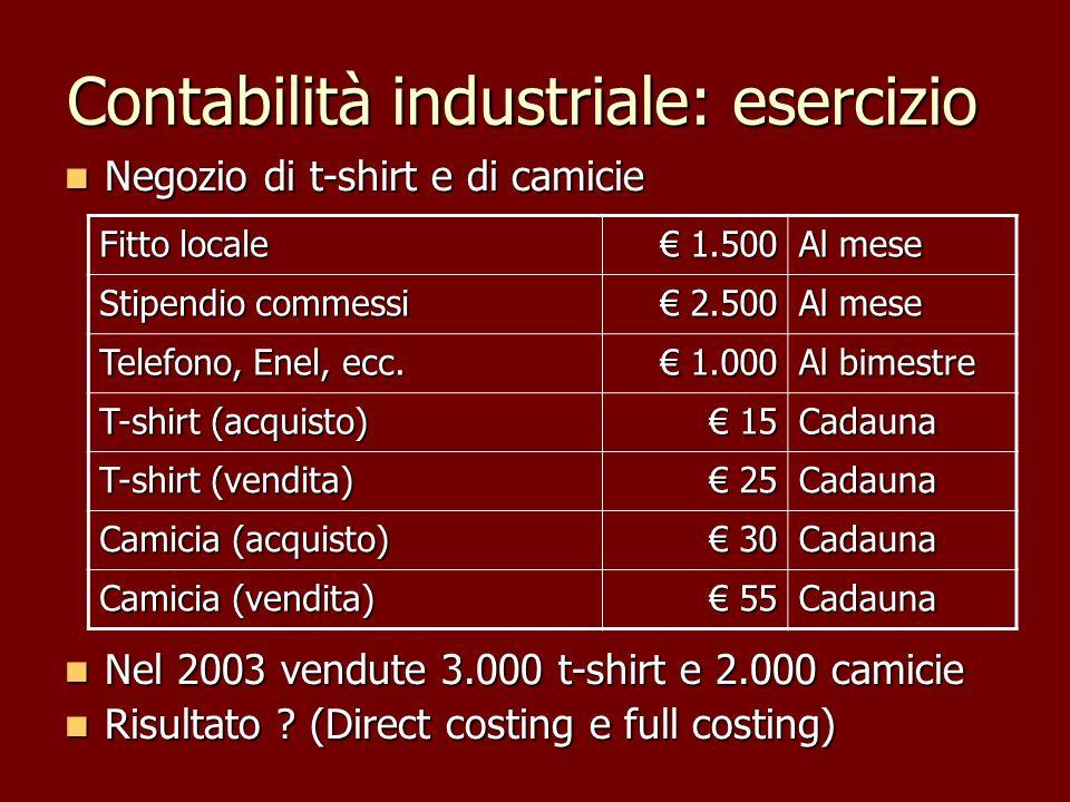 Contabilità industriale: esercizio