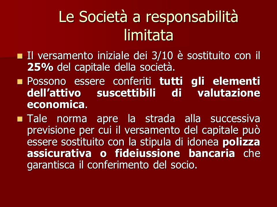 Le Società a responsabilità limitata