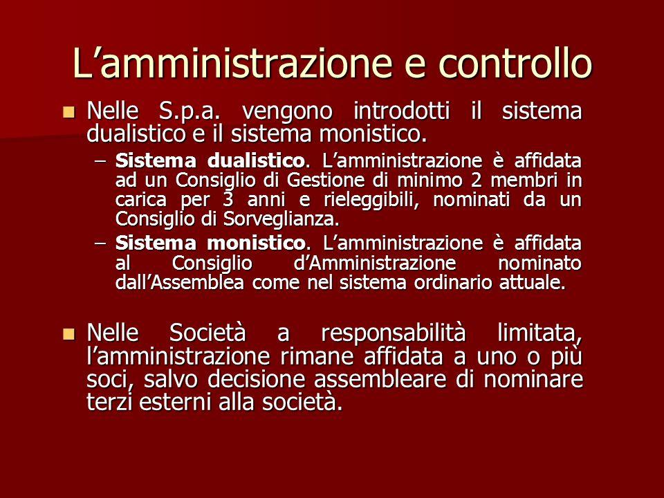 L'amministrazione e controllo