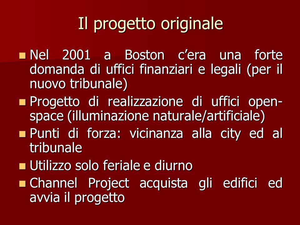 Il progetto originaleNel 2001 a Boston c'era una forte domanda di uffici finanziari e legali (per il nuovo tribunale)
