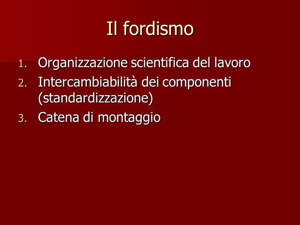Il fordismo Organizzazione scientifica del lavoro