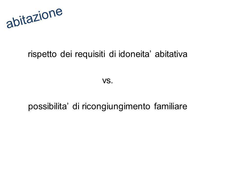 abitazione rispetto dei requisiti di idoneita' abitativa vs.