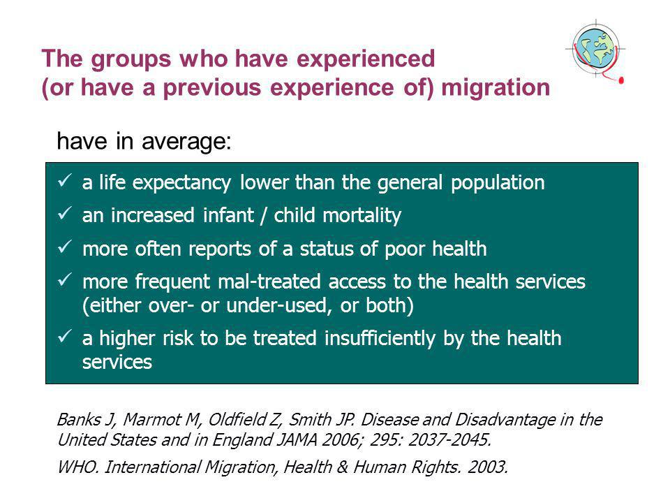 The groups who have experienced (or have a previous experience of) migration