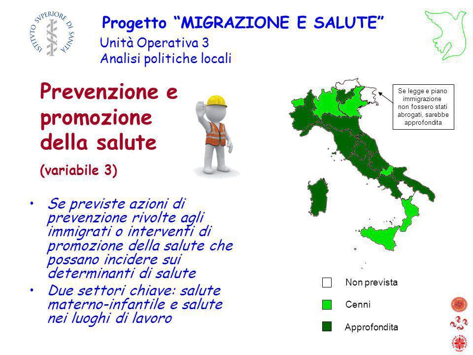 Prevenzione e promozione della salute (variabile 3)