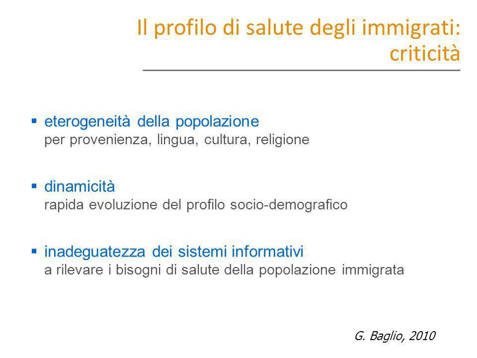 Il profilo di salute degli immigrati: criticità