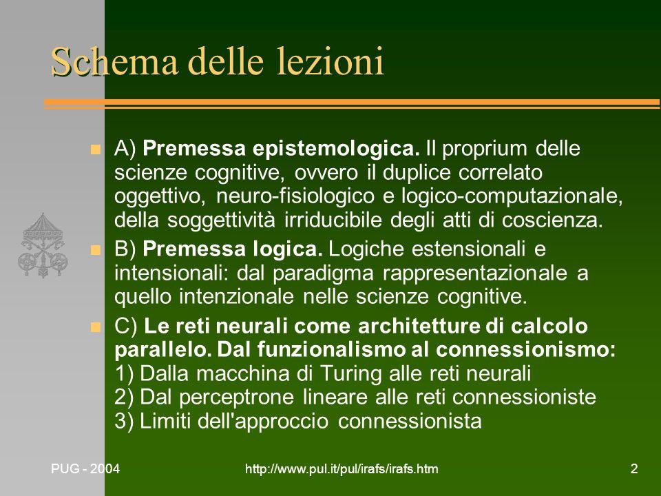 Schema delle lezioni