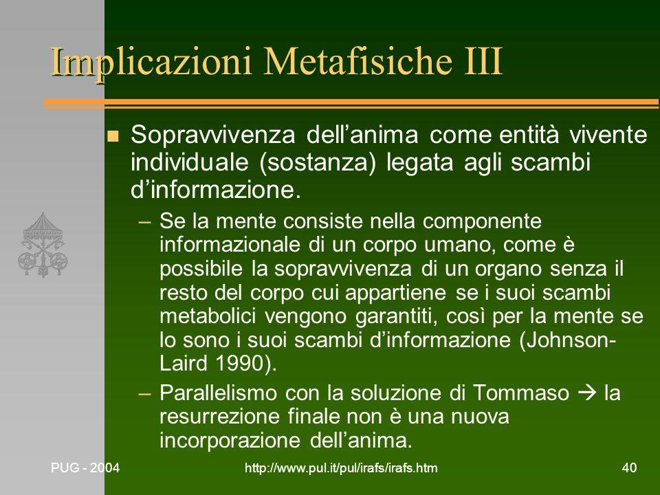 Implicazioni Metafisiche III
