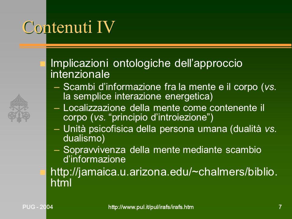Contenuti IV Implicazioni ontologiche dell'approccio intenzionale