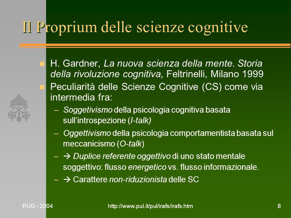 Il Proprium delle scienze cognitive