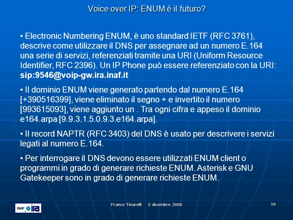 Voice over IP: ENUM è il futuro