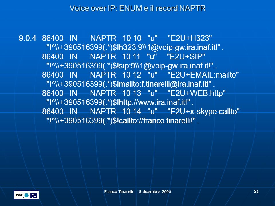 Voice over IP: ENUM e il record NAPTR