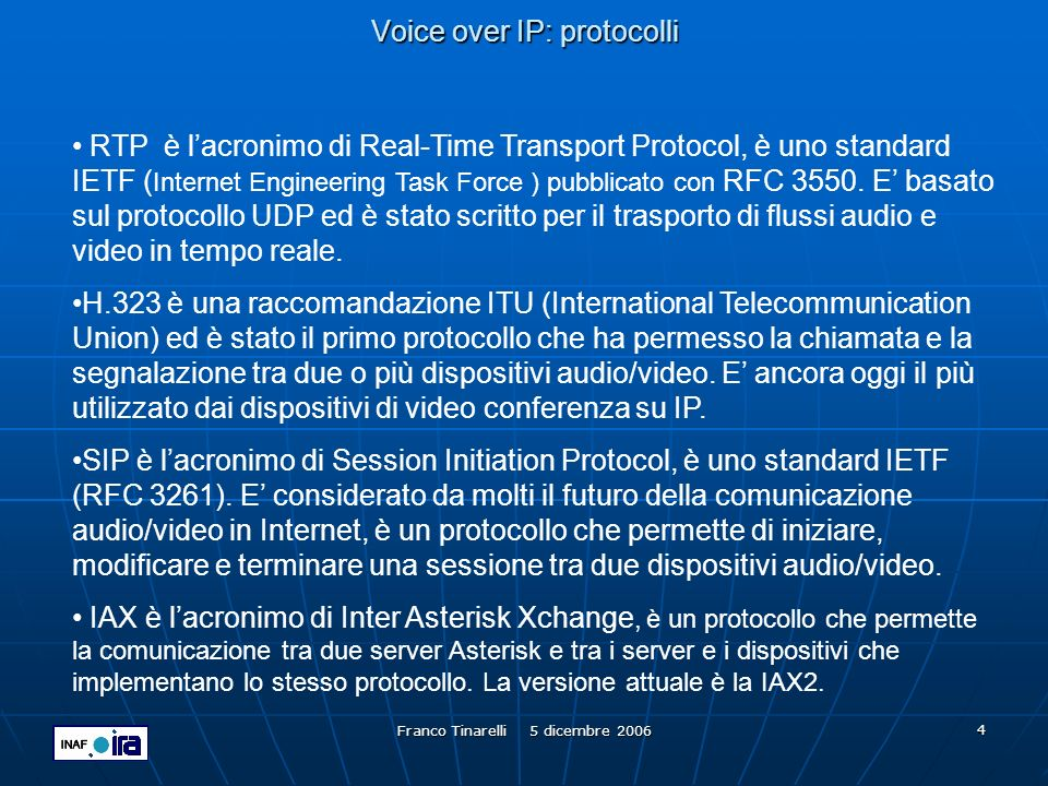 Voice over IP: protocolli
