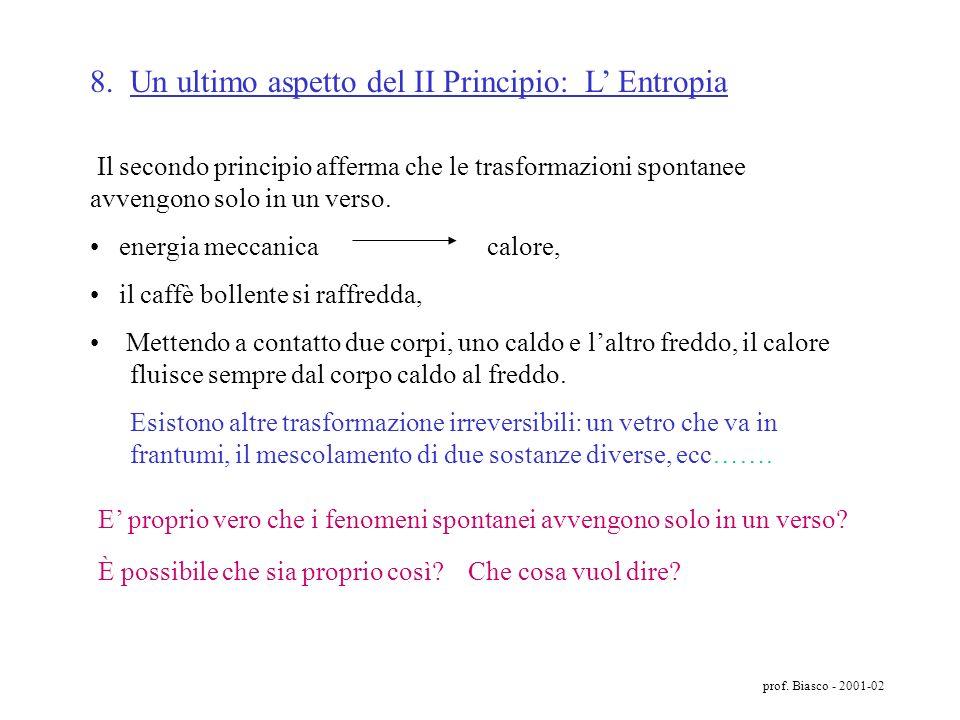 8. Un ultimo aspetto del II Principio: L' Entropia