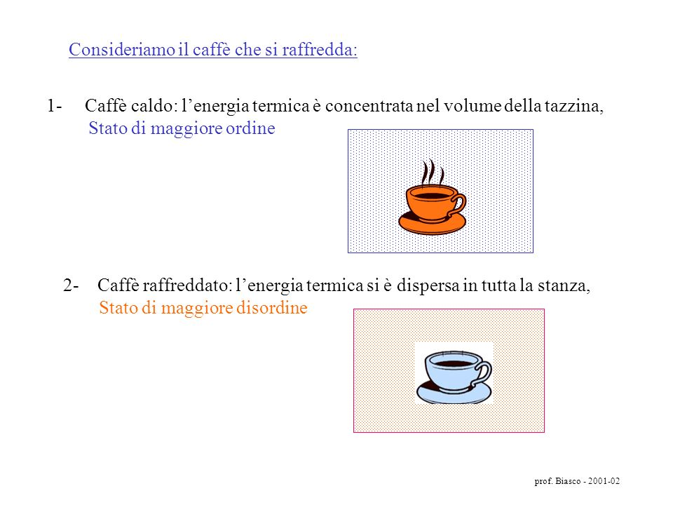 Consideriamo il caffè che si raffredda: