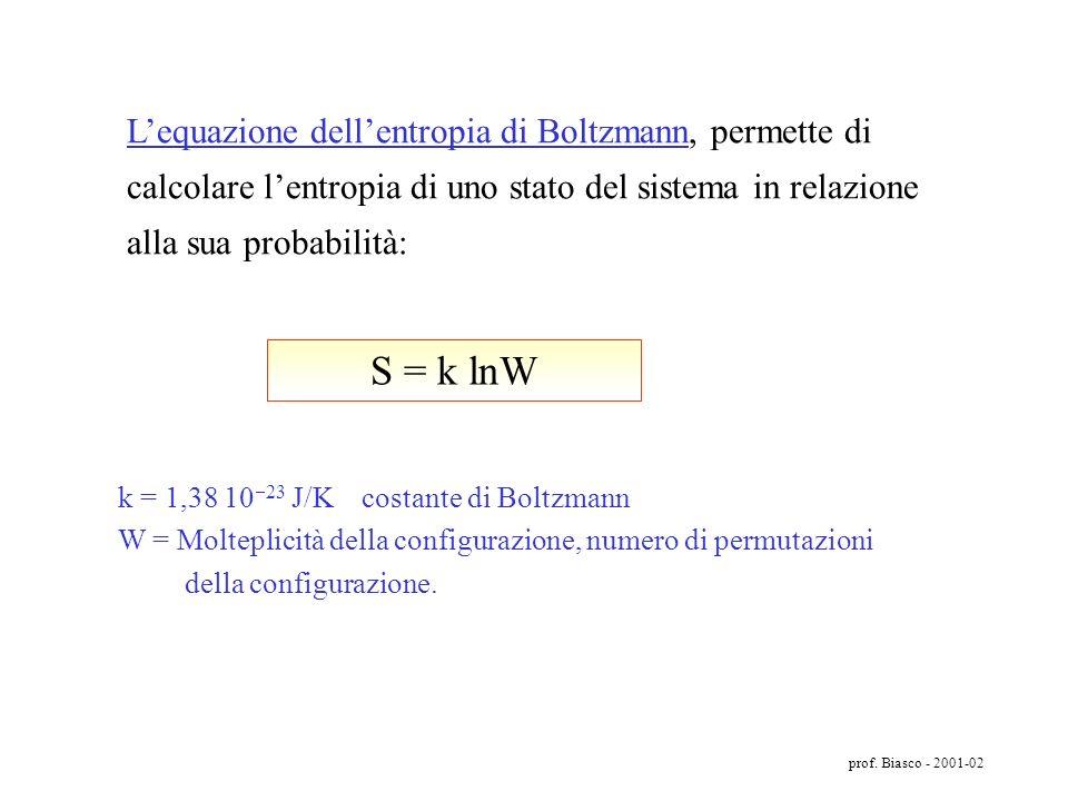 L'equazione dell'entropia di Boltzmann, permette di calcolare l'entropia di uno stato del sistema in relazione alla sua probabilità: