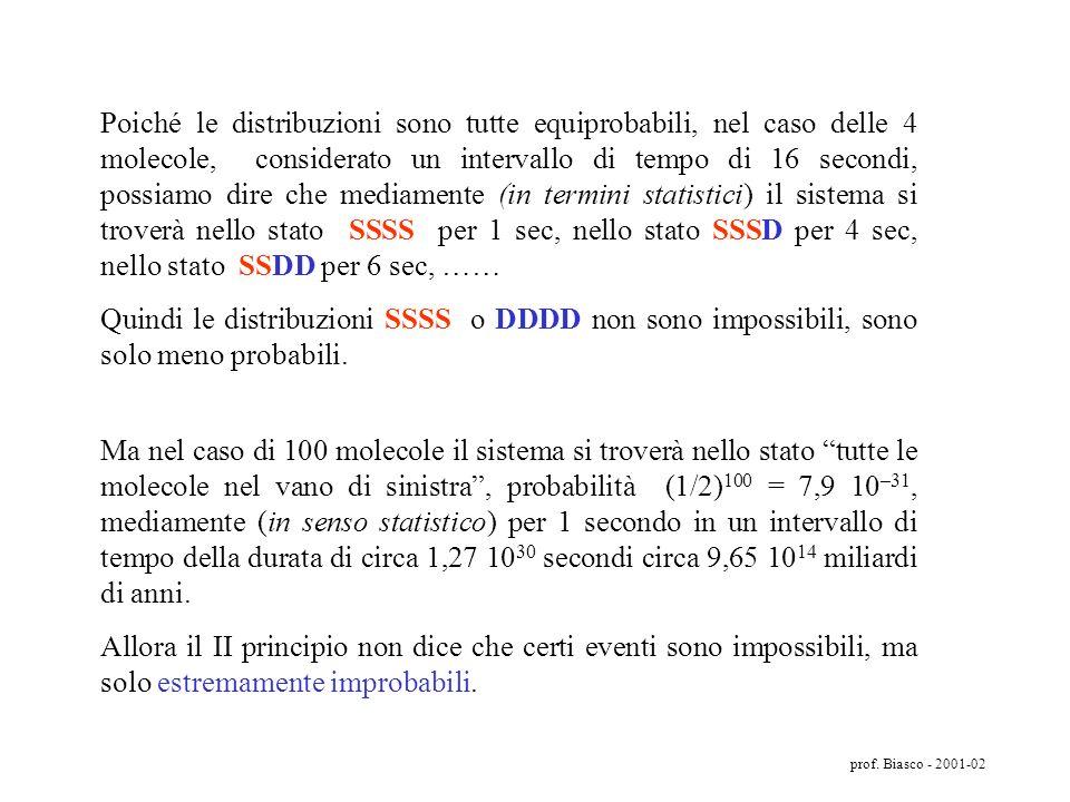 Poiché le distribuzioni sono tutte equiprobabili, nel caso delle 4 molecole, considerato un intervallo di tempo di 16 secondi, possiamo dire che mediamente (in termini statistici) il sistema si troverà nello stato SSSS per 1 sec, nello stato SSSD per 4 sec, nello stato SSDD per 6 sec, ……